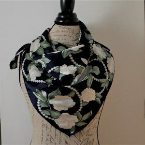 Casca Navy & White Floral & Pearls Scarf